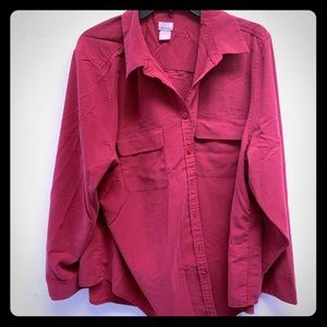 Chico's cranberry red long sleeve button down plus